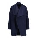 New Fashion Simple Plain Oversize Collar Long Sleeve Tunic Coat
