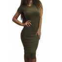 Summer Collection Round Neck Short Sleeves Plain Bodycon T-shirt Midi Dress