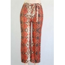 New Fashion Geometric Print Tie Waist Wide Leg Pants