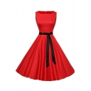 Vintage Bow Belted Plain Square Neck Zip-Back Fit & Flare Midi Dress