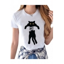 Cat Cartoon Pattern Printed Round Neck Short Sleeve Tee