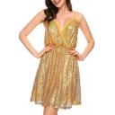 Party Style Elastic Waist Sleeveless Mini Sequined Wrap Cami Dress