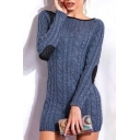 Elbow Patch Boat Neck Long Sleeve Plain Knit Pullover Sweater