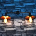 Industrial Vintage 2 Light Multi Light Wall Sconce with Saucer Metal Shade, 28''W, Rust