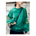 Floral Embroidered Batwing Long Sleeve Round Neck Pullover Sweatshirt