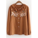 Fashionable Star Letter Embroidered Ruffle Peter Pan Collar Long Sleeve Shirt