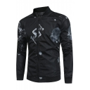 New Trendy Character Print Long Sleeve Stand-Up Collar Zipper Jacket