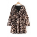 Trendy Leopard Panther Pattern V-Neck Bell Layered Sleeves Layered Tiered Swing Mini Dress