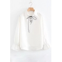 Natural Lapel Lace-up Bow Front Bell Sleeves Loose Pullover Women's Blouse