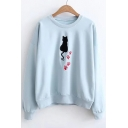 Cartoon Cat Embroidered Round Neck Long Sleeve Pullover Sweatshirt