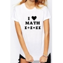 Trendy Math Formula Sweetheart Printed Round Neck Short Sleeves Summer T-shirt