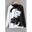 Fancy Color Block Cartoon Cat Tai Chi Printed Long Sleeves Pullover Monochrome Sweatshirt