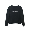 Natural Simple Letter Printed Round Neck Long Sleeves Pullover Sweatshirt