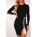 Fashionable Lace-Up Long Sleeve Split Side Round Neck Plain Dress
