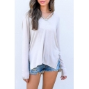 Simple Plain Long Sleeve Round Neck Asymmetric Hem Tee