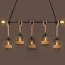 Industrial Large Multi Light Pendant with Rope and Metal Cage in Vintage Style, 7 Light