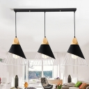 Industrial 20''W Multi Light Pendant 3 Light with Metal Cage in Black/White Finish