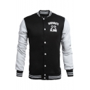 Stylish Badge Letter Eagle Printed Striped Trimmed Color Block Baseball Jacket