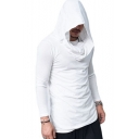 Simple Plain Long Sleeves Pullover Slim-Fit Men's Sport Hoodie