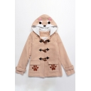 Cute Shiba Dog Cartoon Paw Pattern Single Breasted Double Pockets Hooded Winter Coat
