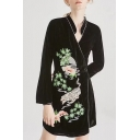 Fabulous Floral Tiger Embroidered V-Neck Bow Belted Wrap Mini Velvet Dress