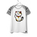 Chic Fortune Lucky Cat Cartoon Color Block Round Neck Short Sleeves Summer T-shirt