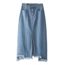 New Trendy Zip Fly Plain Asymmetric Frayed Hem Split Front Denim Skirt