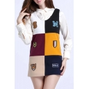 Fashionable Color Block Letter Badge Pattern Scoop Neck Tank Dress