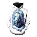 Casual Cartoon Lion Print Long Sleeve Pocket Hoodie for Couple