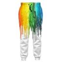 New Stylish 3D Color Block Print Drawstring Waistband Casual Pants