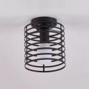 Industrial 6.3''W Flush Mount Ceiling Fixture with Cylinder Metal Cage in Black