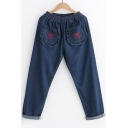Hot Sale Embroidery Bow Pattern Elastic Waistband Jeans