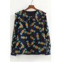 Fancy Sweet Print Long Sleeve Peter Pan Collar Button Down Shirt