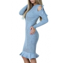 Fashion Plain Long Sleeve Hollow Out Shoulder Bow Ruffle Hem Round Neck Dress