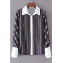 Chic Geometric Striped Pattern Point Collar Long Sleeves Button Down Shirt