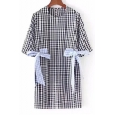 Elegant Round Neck Half Sleeves Bow Tie Side Cutout Back Plaids Shift Mini Dress