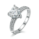 Elegant Sweetheart Shaped Gem Jewel Studded Slim Band Ring