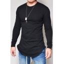 Men's Fashion Round Neck Long Sleeves Spring Plain Tee