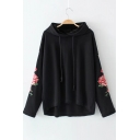 Leisure Floral Pattern Drop Sleeve High Low Hem Loose Hoodie