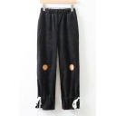 Leisure Embroidered Elastic Waist Loose Bow Detail Cuff Pants