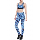 New Arrival Butterfly Pattern Scoop Neck Cropped Tank with High Waist Workout Pants