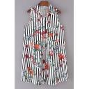 Pop Floral Striped Print Lapel Button Tank Shirt Dress with Pocket