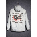 Fashionable Letter Printed Long Sleeves Zippered Hooded Jacket with Pockets