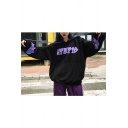 Chic Letter Printed Flame Pattern Long Sleeves Pullover Hoodie with Pocket