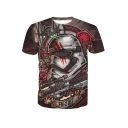 Cool Robot Mask Gun Printed Round Neck Short Sleeves Casual Tee Top
