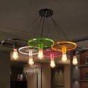 Industrial 6 Light Colorful Multi Light Pendant with Wheel in Bar Style, 43''W