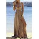 Sexy Plunge Neck Strappy Waist Split Side Open Back Plain Maxi Beach Cami Dress