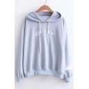 Fashion Letter Striped Print Dropped Shoulder Long Sleeve Hoodie
