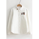 Embroidery Fox Letter Pattern Long Sleeve Lapel Shirt