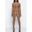 Sexy Off the Shoulder Long Sleeves Zippered Cropped Top with Snake Printed Skinny Pants
